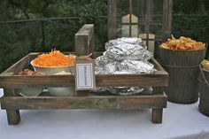Baked Potato Bar - for vegetarians Fall Party Idea- Chili Under the Oaks Baked Potato Bar, Baked Potatoes, Chili Party, Gazebo With Fire Pit, Fire Pit Decor, Fire Pit Furniture, Chili Cook Off, Harvest Party, Food For A Crowd
