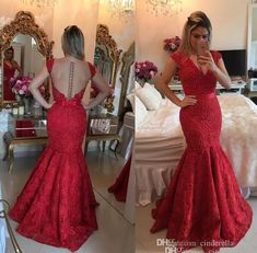 Red Lace Formal Mermaid Evening Dresses V Neck Illusion Back Major Pearls Floor Length Arabic Prom Party Pageant Gowns With Bows Plus Size Maxi Evening Dresses Occasion Wear From Cinderella_shop, $129.42| Dhgate.Com