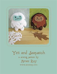 Mini Felt Yeti and Sasquatch plush PDF sewing pattern felt