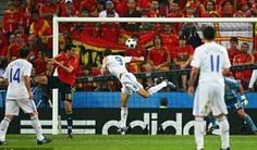 Spain 2 Greece 1 in 2008 in Salzburg. Angelos Charisteas heads Greece into the lead on 42 minutes in Group D at Euro 2008.