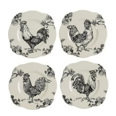 "J Willfred Barnyard Rooster Toile 9"" Square Plates (set Of 4  by J. Willfred"