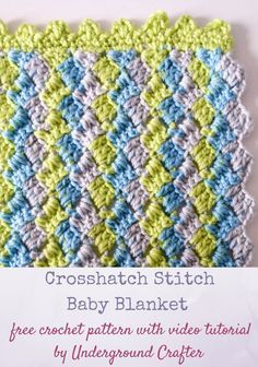 Free crochet pattern: Crosshatch Stitch Baby Blanket in Premier Yarns Everyday Baby with video tutorial by Underground Crafter | This simple stitch pattern creates a delightful chevron without complicated decreases. Carry the unworked yarn up the side while you're working and then cover with a border to minimize the number of yarn tails you need to weave. This pattern makes a great gift for your next baby shower, or is suitable for donation to your favorite children's charity, or one of the…