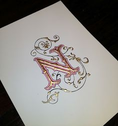 Illuminated letter with H