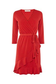Oasis, SPOT RUFFLE WRAP DRESS Multi Red