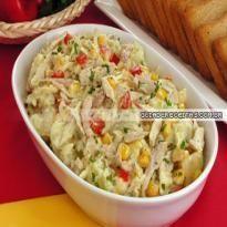 Salada de batata e frango Rice Recipes, Dinner Recipes, Red Rice Recipe, Pasta, Portuguese Recipes, Potato Salad, Food And Drink, Low Carb, Yummy Food