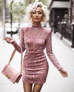 Micah Gianneli - Sunday night glam with all pink, bit of sparkle & power shoulders ✨ Wearing @abyssbyabby dress