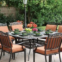 Darlee Charleston 8-person Cast Aluminum Patio Dining Set - Antique Bronze by Darlee. $2809.00. Set Includes: Dining Table, 8 Dining Chairs, Spicy Chili-Colored Polyester Cushions. Lightweight aluminum frame makes rearranging your furniture easy. Cast aluminum construction promotes rust resistance. Antique bronze powder coating is tougher than conventional paint finishes. Darlee Charleston 8-Person Cast Aluminum Patio Dining Set - Antique Bronze. CH91-1-3-17-S30W-AB. Aluminu...