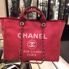my beautiful pink 2015 spring collection chanel deauville tote thanks to emma at neiman marcus troy ❤️