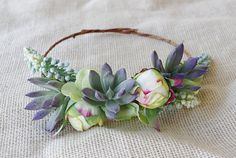 Succulent Greens and Peonies Flower Hair Wreath by Wedideas