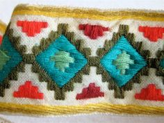 Vintage Woven Trim Spanish Textile by elansolete on Etsy