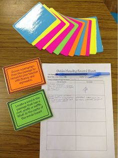 Tips & Tricks Teaching: Guided Reading...in middle school... Lots of great stuff here...guided reading log, common core task cards link, etc
