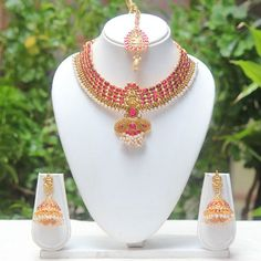 Fancy Neck Feet Maroon Colour Short Necklace Set Necklaces and Necklace Sets on Shimply.com