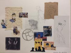 Afgewerkt moodboard: kenmerken van de kunstenaar Toulouse Lautrec. Zijn kleur, schetsen, posters, handtekening en schilderwerken op stof (linnen), zijn bewegelijke lijnen.