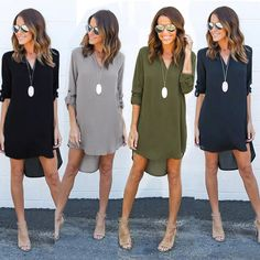 2017 new fashion large size women's long sleeve V-neck Slim minimalist casual clothes before the long and short chiffon dress