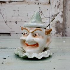Antique Collectible Mustard Pot - Early Ceramic Clowns Head Mustard Pot by Restored2bloved on Etsy