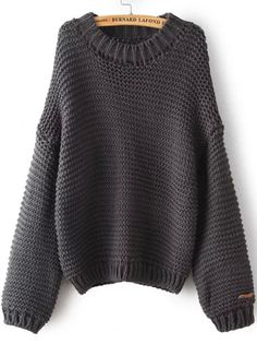 Shop Grey Round Neck Chunky Loose Sweater online. SheIn offers Grey Round Neck Chunky Loose Sweater & more to fit your fashionable needs.