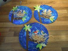 vogelnestje van een papieren bordje. Kindjes bordjes laten schilderen en de vogeltjes laten inkleuren en dan opplakken