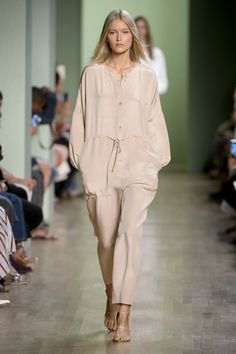 Tibi Spring 2016: A silk jumpsuit with a drawstring waist and strappy sandals.