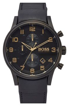 BOSS+'Blackout+Aeroliner'+Leather+Strap+Watch,+44mm+available+at+#Nordstrom
