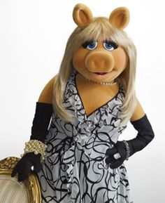 The Muppet Show - Miss Piggy.  She loves Kermit.  She is either smothering him in kisses or karate chopping him.