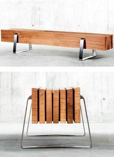 Oak bench LONG by QoWood #wood