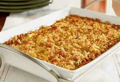 Zucchini Squash Casserole Ingredients: - 3 cups Pepperidge Farm® Cornbread Stuffing - 1/4 cup butter, melted (1/2 stick) - 1 can (10 1/2 ounces) Campbell's® Condensed Cream of Chicken Soup - 1/2 cup sour cream - 2-3 small yellow squashes, thinly sliced or shredded - 2-3 small zucchini, thinly sliced or shredded - 1 medium onion, chopped into sizes of your liking -1/2 cup shredded Cheddar cheese - salt & pepper to taste What To Do 1) Mix stuffing and butter in a medium bowl (the mixture will…