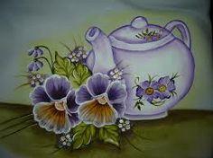 pintura em tecido bule com flores - Pesquisa Google
