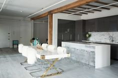 Contemporary Bar: Large open bar area with exposed beams and contemporary furniture. .