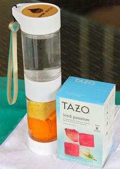 I need a Define Bottle! Tazo Iced Passion Iced Tea with fresh tangerine and pineapple in the Define Bottle, a fruit infused water bottle to take on the go.