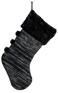 3fe4b4e04e79 Christmas Stocking - Sweet Stripes in Blackberry Cobbler with Cuddly Faux  Fur in Black - Cuddly