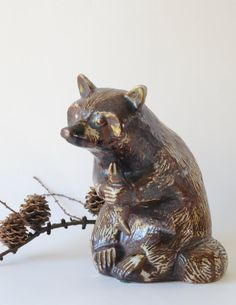 Soholm denmark Raacoon figurine / Haico Nitzsche for Soholm, Bornholm. A Beautiful large Raccoon/ Art pottery figurine. Danish modern design