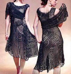 Como fazer vestido de crochê passo a passo gráficos e Receita