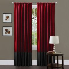 Clay Alder Home Frisco Red/ Black Milione Fiori 84-inch Curtain Panel... ($41) ❤ liked on Polyvore featuring home, home decor, window treatments, curtains, red, red panels, black panel, red curtain panels, black curtains and black window panels
