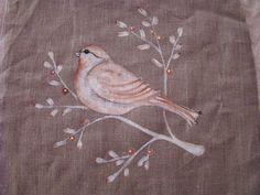 oiseau, peint a la main sur du lin bird painting on linen