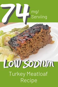 Healthy Recipes A delicious and moist low sodium turkey meatloaf recipe that can be whipped up in about an hour. No Sodium Foods, Low Sodium Recipes, Low Sodium Meals, Low Sodium Diet, Low Sodium Turkey Meatloaf Recipe, Meatloaf Recipes, Salt Free Recipes, Kidney Friendly Foods, Dash Diet Recipes