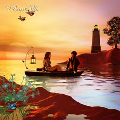 Couple relaxing on a boat while watching the sunset ... in the distance a lighthouse ...