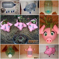 DIY Adorable Porcinet Planteur à partir de bouteilles en plastique 1