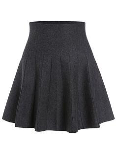 Grey Elastic Waist Knit Flare Skirt 12.67