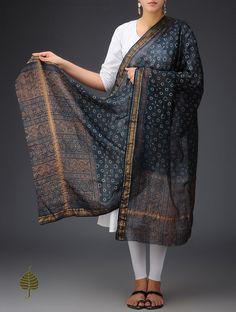 Buy Indigo-Maroon Chanderi Ajrakh Printed Zari Border Dupatta By Jaypore Online at Jaypore.com