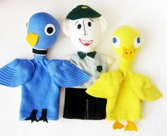 Pigeon (Drive the Bus, Duck, Bus driver Trio HandPuppets by Meoneil on Etsy