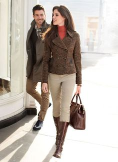 Love wearing riding gear in public! Tweed Jacket over turtle-neck, with Jodhpur Riding Pants & Boots Mode Outfits, Winter Outfits, Fashion Outfits, Womens Fashion, Fashion Trends, Looks Country, Looks Style, My Style, Style Feminin
