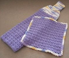 Hanging Towel and Matching Dishcloth | AllFreeCrochet.com