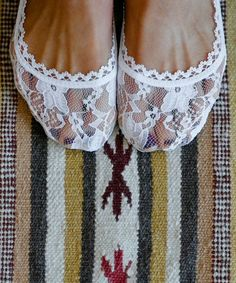 White Lace Peep-Toe Socks