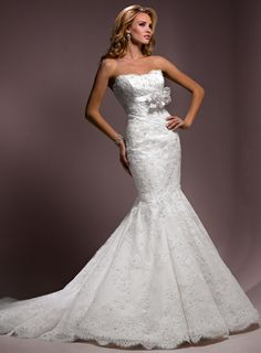 Strapless Empire waist Trumpet / Mermaid Lace wedding dress