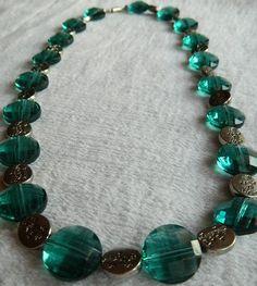 Light Aqua and Silver Beaded Necklace. $20.00, via Etsy.