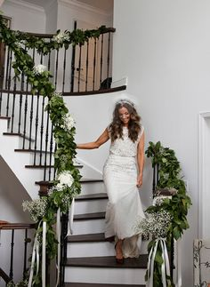 Elegant staircase decoration memorable weddings pinterest a stylish modern wedding in toronto wedding decorationswedding staircase junglespirit Images