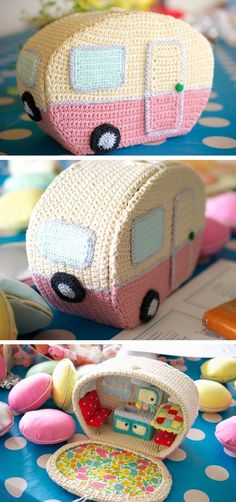 crochet camper—I may never get to this, but wow. many of the inside details are crocheted, too.