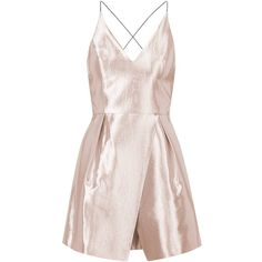 TopShop Crinkle Satin Plunge Dress ($105) ❤ liked on Polyvore featuring dresses, pale pink, prom dresses, strap prom dresses, plunging neckline dress, plunge dress and pink dress