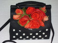 Felted Black White Polka dot Bag with Fantastic Big  Red by Evgene, $109.00