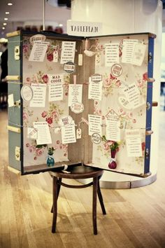 Inspiration Friday: Alternative seating plans Here is a quirky idea for a seating plan. It is easy to create if you have an old suitcase, some ribbon and wooden pegs. The Plan, How To Plan, Vintage Suitcase Wedding, Vintage Suitcases, Wedding Vintage, Vintage Luggage, Wedding Suitcase For Cards, Big Suitcases, Vintage Trunks